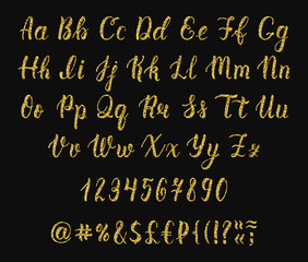Handwritten latin calligraphy brush script with numbers and symbols. Gold glitter alphabet. Vector