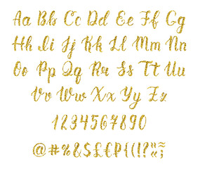 Handwritten latin calligraphy brush script with numbers and punctuation marks. Gold glitter alphabet. Vector
