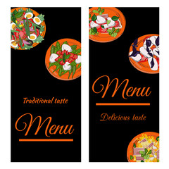 Restaurant menu top view frame. Food menu template design. Vector drawn sketch illustration with dishes.