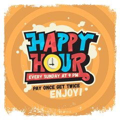 Happy Hour Label Sign Design Funny Cool Comic Lettering Graffiti