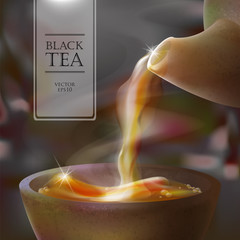 Vector 3d illustration of a tea ceremony. From the kettle filled with hot cup of tasty drink. Teapot, bowl and black tea