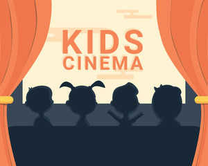 Kids cinema black and white silhouette and text