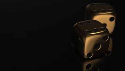 3d golden poker two dice, reflection on black background, 3d render