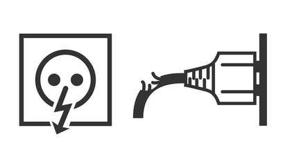 Vector isolated icons of power socket and damaged wire of plug on white background.