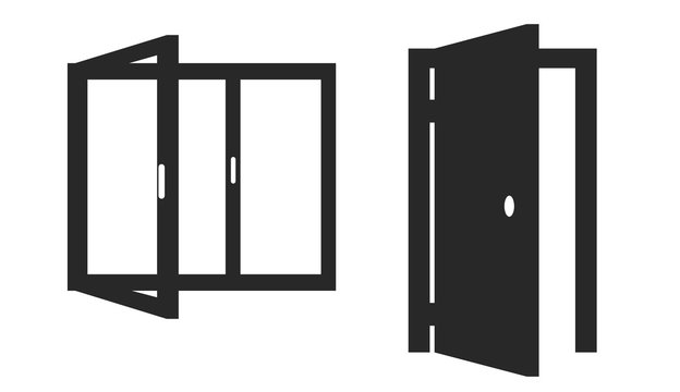 Vector isolated icons of opened door and window on white background.