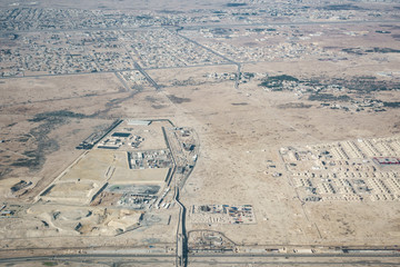 Aerial view of the outskirts of Doha in Qatar