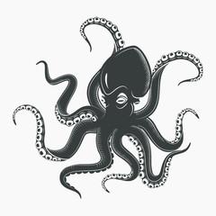 Octopus tattoo or squid marine mascot