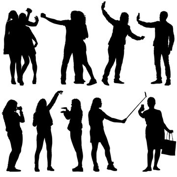 Set silhouettes man and woman taking selfie with smartphone on white background. Vector illustration