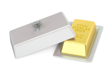Financial and banking concept. Golden bar on a platter with open lid, 3D rendering