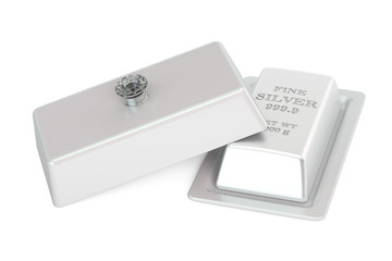 Financial concept. Silver bar on a platter with open lid, 3D rendering