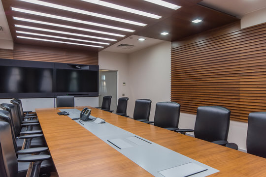 Modern conference room with wide screen TV