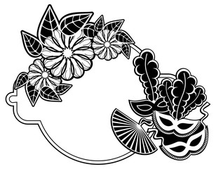 Black and white silhouette frame with carnival masks. Vector clip art.