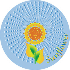Sun flower in a circle. The emblem, logo. Design of labels, ekobannerov, posters, leaflets. Market farmers, workers food industries.