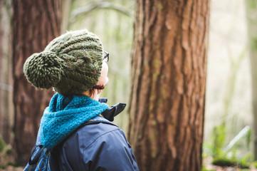 Female hiker in woodland