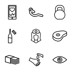 Set of 9 Health outline icons