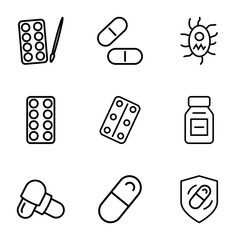 Set of 9 pill outline icons