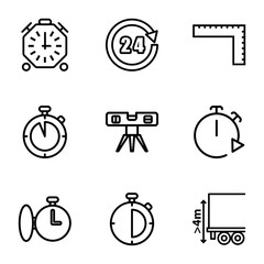 Set of 9 measure outline icons