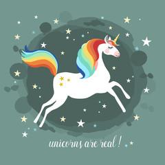 Unicorn running in the air, vector illustration