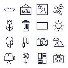 Set of 16 Photography outline icons