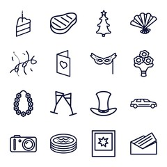 Set of 16 Party outline icons