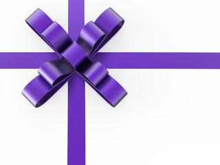 3D illustration purple gift bow