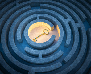 Key in the center of a maze