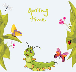 Cartoon smiling caterpillar among butterflies