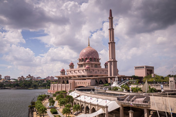 The Pink Mosque is a famous landmark and strong symbol of Islam religion in Putrjaya, Administrative capital of Malaysia.
