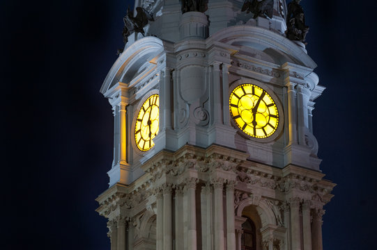Top of City Hall tower in Center City district of Philadelphia, PA