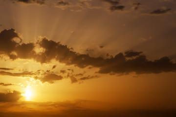 Beautiful orange sunset sky with sun rays.