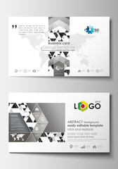 Business card templates. Cover template, easy editable blank, flat layout. Abstract triangle design background, modern gray color polygonal vector.