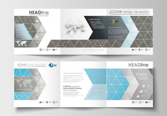 Set of business templates for tri-fold brochures. Square design. Leaflet cover, flat layout. Scientific medical research, chemistry pattern, hexagonal molecular structure, science vector background.