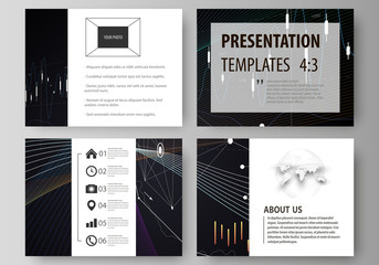 Business templates for presentation slides. Vector layouts. Black color abstract infographic background in minimalist design made from lines, symbols, charts, diagrams and other elements.