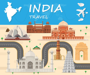 Poster Castle india Landmark Global Travel And Journey Infographic background. Vector Design Template.used for your advertisement, book, banner, template, travel business or presentation.