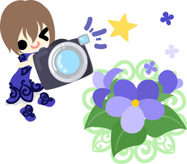 Illustration of a cute girl and violet and a camera