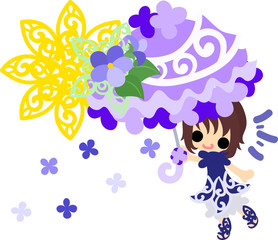 Illustration of a cute girl and a parasol of violet