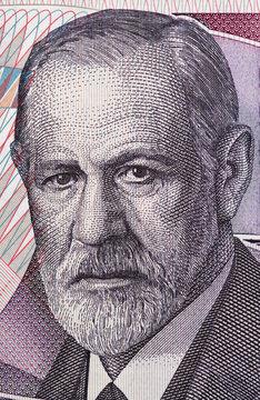 Sigmund Freud (1856 - 1939) portrait on Austria 50 schilling banknote closeup macro. Austrian neurologist and the founder of psychoanalysis.