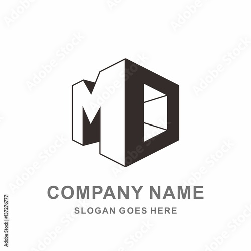 monogram letter m d geometric square cube architecture construction business company stock. Black Bedroom Furniture Sets. Home Design Ideas