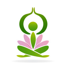 Yoga pink lotus man logo vector image