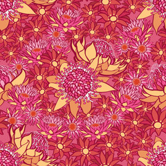 summer flower seamless vector pattern