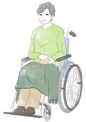 車椅子に座るシニア女性