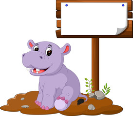 hippo with blank sign