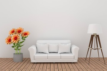 dahlia flower decoration with sofa and lamp in white room interior in 3D rendering