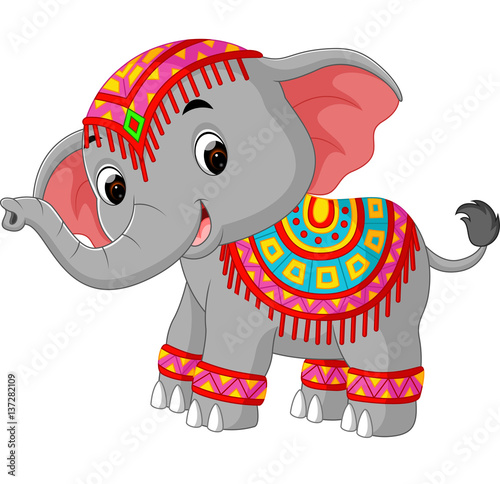 cartoon elephant with traditional costume stock image and royalty free vector files on fotolia. Black Bedroom Furniture Sets. Home Design Ideas