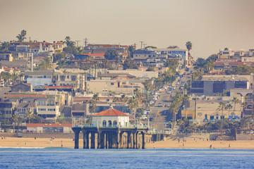 Morning view of the shore near Manhattan Beach and Redondo Beach