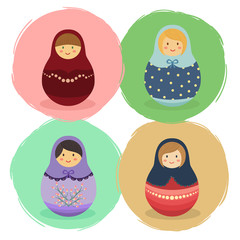 Cute Russian Doll Cartoon Set Vector illustration with colorful hood and costume