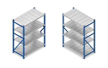 3d rendering of a steel grey-and-blue shelving unit in double-sided isometric view.