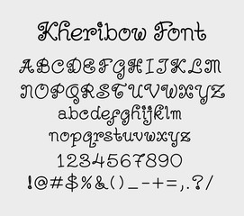 Kheribow vector alphabet uppercase, lowercase characters, numbers and symbols. Good use for cover title, poster title, letterhead, body text, or any design you want. Easy to use, edit or change color.