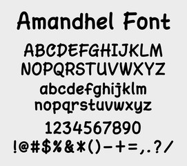 Amandel vector font. Alphabet. uppercase, lowercase character, numbers, and symbols. Good use for cover title, letterhead, or any design title You want. Easy to use, edit or change color.