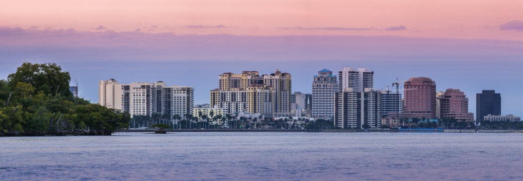 West Palm Beach Florida skyline at sunset